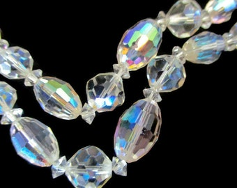 Vintage Crystal Necklace Aurora Borealis Double Strand 1950s Wedding Prom Special Occasion