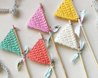 Set of 5 Crocheted Flags in Spring Colors/ Crochet Pennants