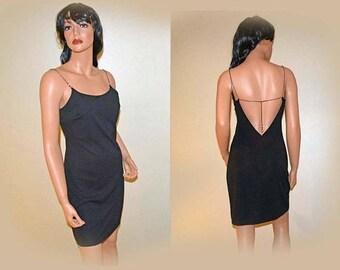 Memorial Day Sale Vintage Sexy Black Low Back Mini Dress with Silvertone Chain Straps Size M (6)