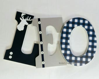 buck head wooden letters, navy plaid wooden letters, wood letters with deer antlers, baby boy nursery letters, boy room decor,
