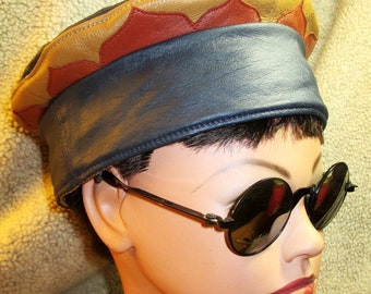 Blue Leather Kufi Hat w/ Contrasting Lotus Petals Rim, Unisex Leather Crown for Men and Women