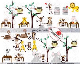 Jungle Rules Class Rules Clipart: (300 dpi transparent png) School Teacher Clip Art Creative Writing Games Rules