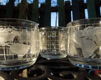 Globe Glass Mugs (set of three)