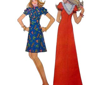 Women's Dress or Maxi, Front Yoke, Puffed Sleeves Step by Step Easy Sewing Pattern Misses' Size 12 Bust 34 Vintage 1970s Uncut McCall's 3820