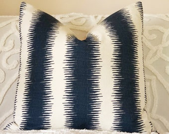 Navy Ikat Euro pillow cover, navy and blush cushion, reversible pillow, blush pillow, large pink and navy pillow, boho luxe decor, blush