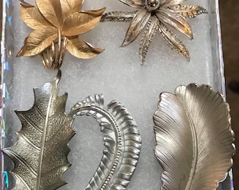 5 Vintage Beautiful Silver Tone Leaf Brooches