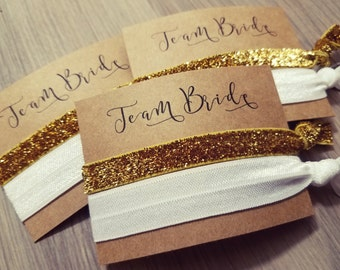 Bachelorette Party Favors | Team Bride Hair Tie Party Favors | White and Gold Hair Tie Favors | Hair Tie Favor