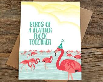 funny birthday card / flamingo