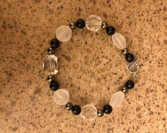 Black/White & Silver Bracelet