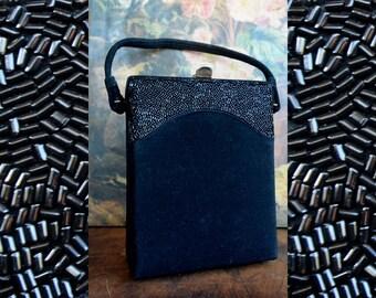 Vintage Black Handbag Adorned with Black Beads