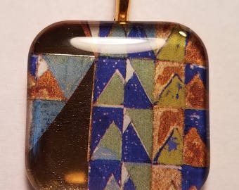 Frank Lloyd Wright Mural #4 - glass pendant and chain