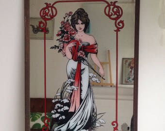 Rare vintage mirror Edwardian illustration goddess of spring. 70's.