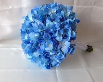 Blue Hydrangea Bouquet, Bridal Bouquet Silk Hydrangea Bouquet, Artificial Floral Bridesmaids Bouquet Realistic Flower Bouquet SH-DJ-003