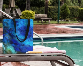 Beach tote bag   Ocean lover Tote Bag   Beach wedding favors   Blue Market Bag   Scuba diver gift   Beach bags and totes   Gift for women