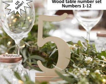 wood table numbers set, farmhouse wedding decorations, barn, woodland, rustic, spring, reception table setting, party decor, DIY tableware