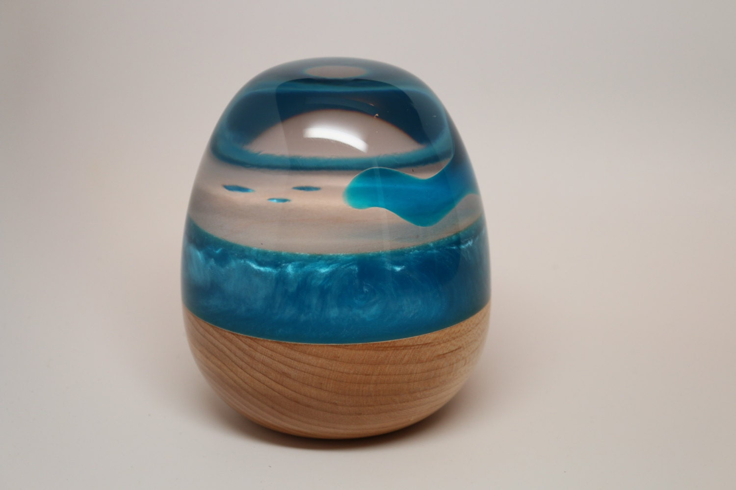 Handmade Wooden Egg Sculpture made of Maple Wood  for Clear Resin Sculpture  195sfw