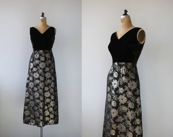 1960s vintage maxi dress / brown and gold velvet party dress / gold metallic brocade maxi dress / chocolate nye dress / size s small