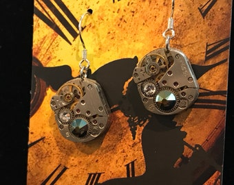 Watch Gear Steampunk earrings with clear and multi color swarovski gems