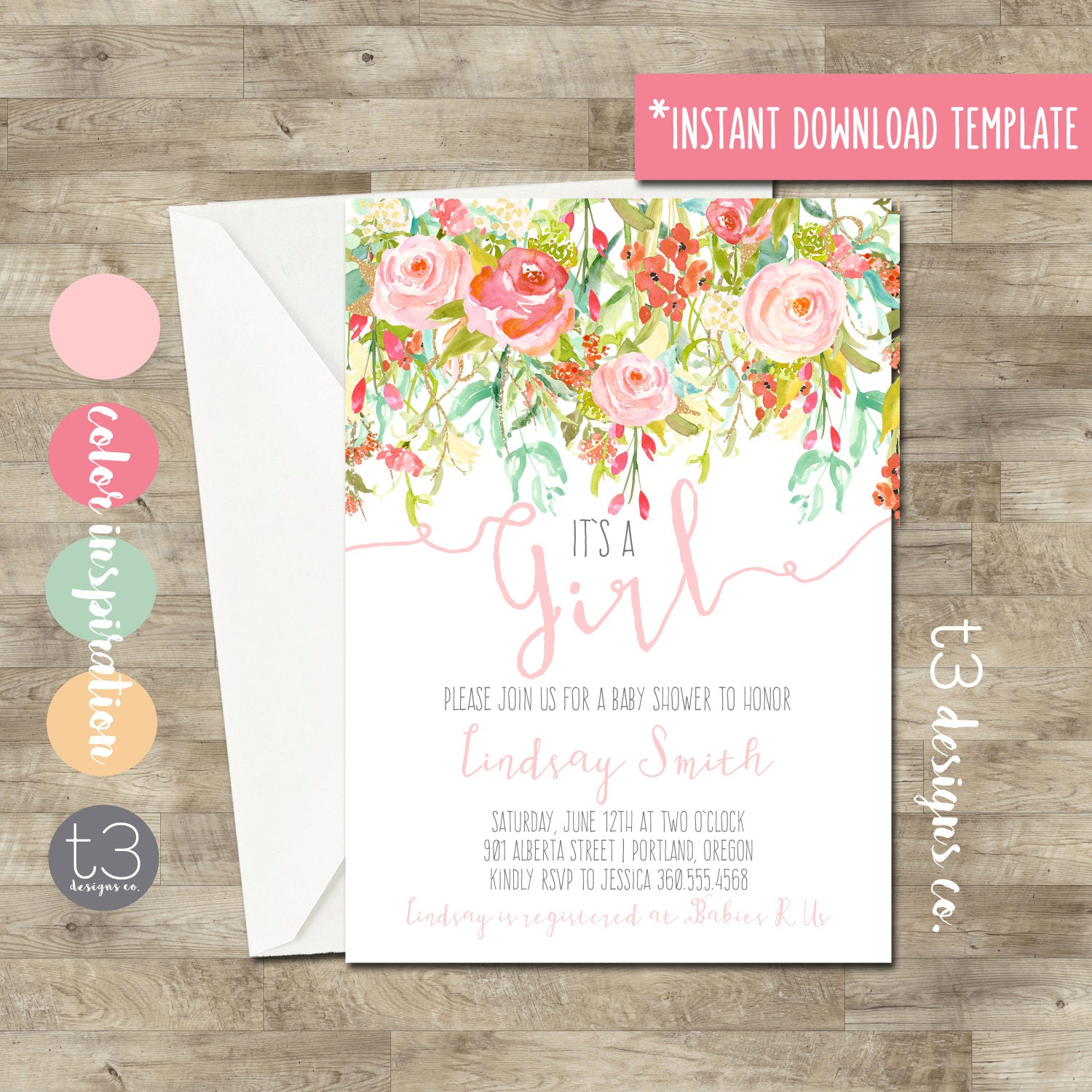 Instant Download Whimsical Baby Girl Shower Invitation, baby shower ...
