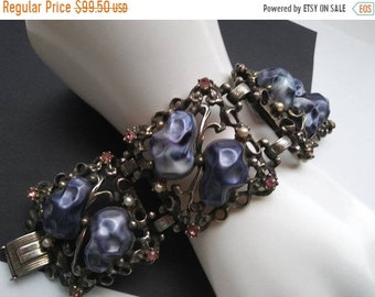 ON SALE Rhinestone Bracelet Colorful High End 1940s 1950s Classic Rare Hard To Find Vintage Jewelry Gray Pink Stones Faux Pearl