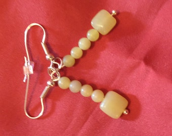 Yellow Jade Drop Earrings