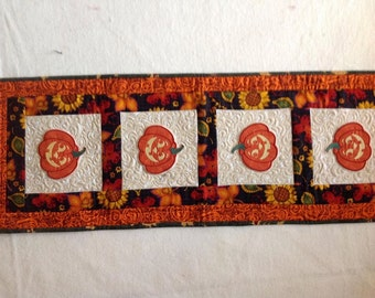 Fall Quilted Table Runner-Machine Embroidered Pumpkins