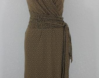 Vintage WestonWear Cocktail Dress in Brown  Surplice Neckline Midi