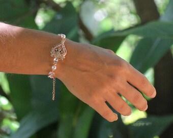 Bridal Bracelet, Rose Gold Bracelet, Rose Gold Crystal Bracelet, Rose Gold Bridal Jewelry, LUCY RGC