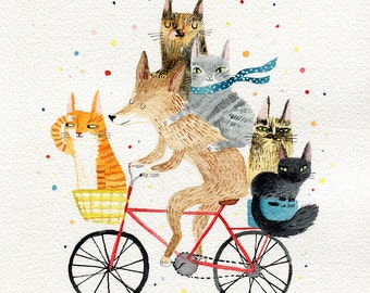 Dog and cats A3 print- cycling animals print