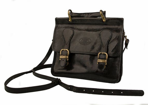 Vintage Burkely's, Netherlands, dark brown leather shoulder, crossbody bag from 70ties for woman
