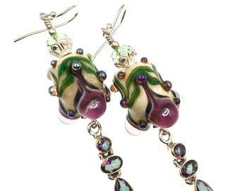 Lampwork Earrings, Glass Bead Earrings, Tan Green Fuchsia Earrings, Artisan Earrings, Dangling Earrings, Lampwork Jewelry, Fun Earrings