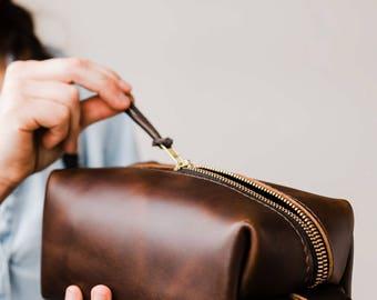 Huge SALE 50% OFF... Dopp Kit Bag Groomsmen Gift Leather Toiletry Bag with Monogram Mens Toiletry Bag Leather Custom Dopp Kit Portland