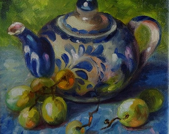 "Little Teapot and Grapes 6x6 Original Oil Painting on stretched, finished 3/4"" profile ready to hang or frame."