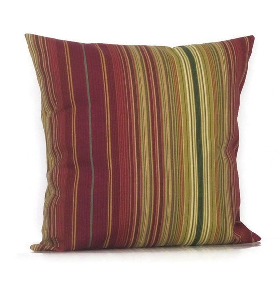 Outdoor Stripe Pillow Cover Decorative Throw Accent Burgundy