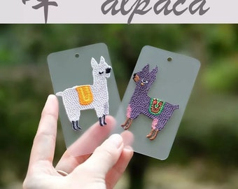 cute Alpaca white and purple embroidered patch little animal iron on patches iron on patch sew on patch