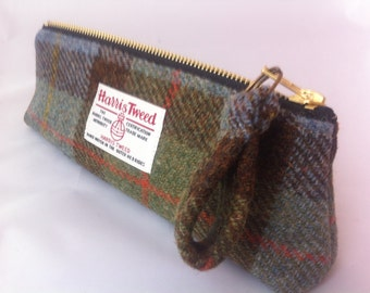 Mans Harris tweed pencil case made in Scotland gift man gift woman gift Scottish vegetarian  wool tartan