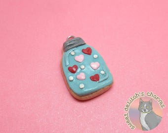 Mason Jar Heart Cookie Charm - Choose your attachment! polymer clay charms, jewelry, keychain, necklace, phonestrap, dust plug, key ring