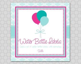 Water Bottle Labels -  Printable digital