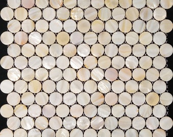 White Mother of Pearl Tile Kitchen Backsplash Penny Round Shell Mosaic Bathroom Wall and Floor Tiles