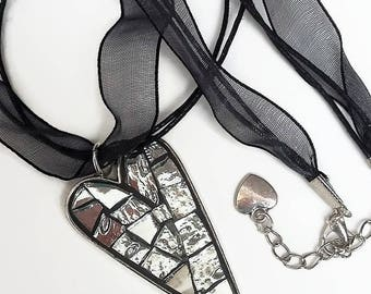 Silver mosaic Heart Necklace