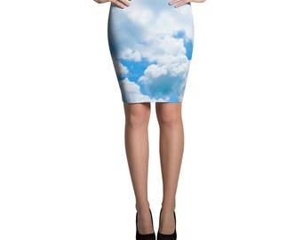 Prince Vaporwave Aesthetic Blue Cloud Pencil Skirt Pastel Goth Fairy Kei Soft Grunge Kawaii Clothing Harajuku Retro 80s Rave Clothing