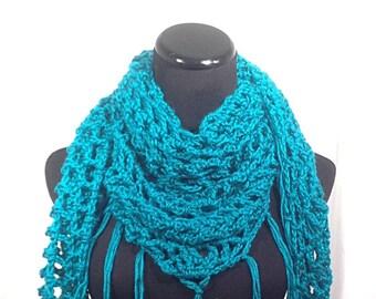 Emerald Green Fringed Mesh Triangle Crochet Scarf
