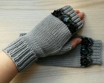 Hypoallergenic 100% Cotton Fingerless Gloves Gray & Black Lace Mittens Women Girl Gloves Hand Knitted Fingerless Mitts Do Not Contain Wool