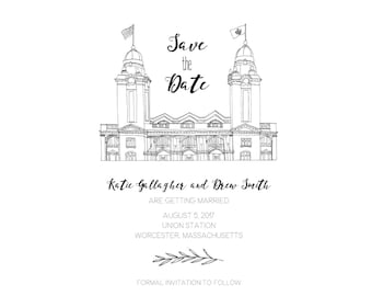 Custom Wedding Venue Illustration Save the Dates