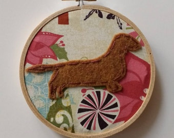 "4"" Red Haired Dachshund Embroidery Hoop Ornament"