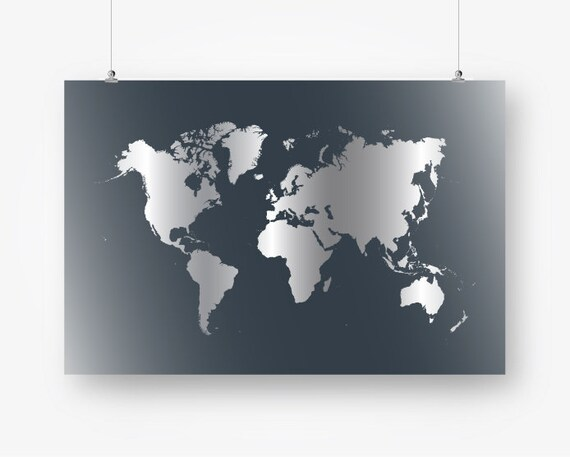 Large World Map Poster Gray Download World Map Wall Decor - Grey world map poster