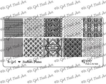 IG107 Nail Art Stamping Plate - art deco, geometric, 1920s, Gatsby
