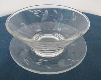 Vintage Crystal Dip Condiment Bowl With Under Plate Princess House Heritage Serving Housewares Dining Dinnerware