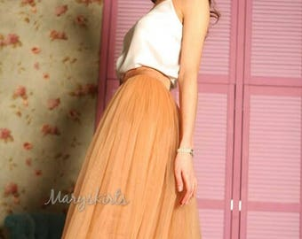 Tulle skirt with matching lining, fixed waistband with hidden zipper (color - Toffee)