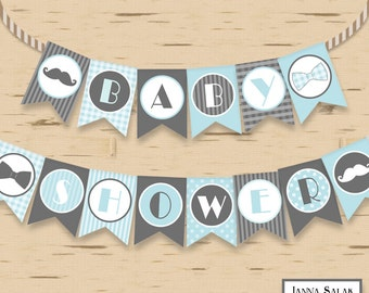 Little Man Baby Shower Banner Mustache Party Printables DIY Printable INSTANT DOWNLOAD LM001